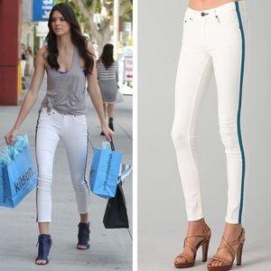 NWOT Rag & Bone Teal Stripe white Skinny Jeans